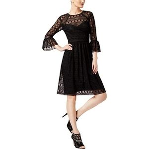 Trina Turk Womens Bell Sleeve Black Everdine Dress